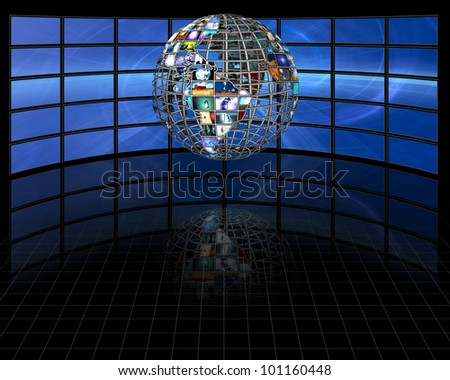 Planet earth sphere of video screens - stock photo