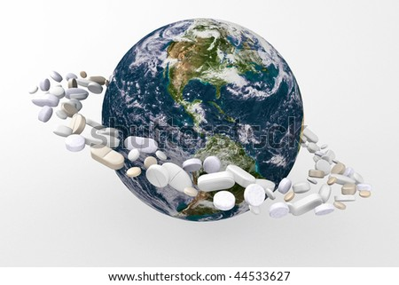 Planet earth surrounded by medicine, cure or save this world. - stock photo