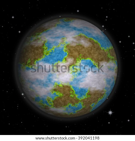 Planet earth surrounded by the stars - stock photo