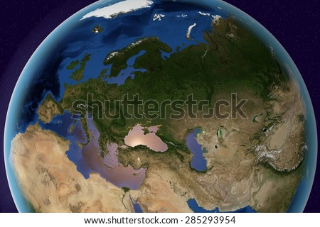 Planet Earth; the Earth from space showing Europe, Asia and Africa on globe in the day time; elements of this image furnished by NASA - stock photo