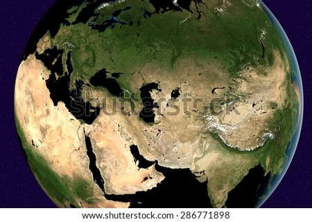 Planet Earth; the Earth from space showing Europe, Asia, Arabian peninsula, Saudi Arabia, India, Russia on globe in the day time; elements of this image furnished by NASA - stock photo