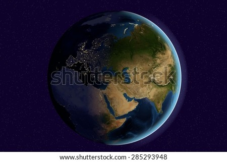 Planet Earth; the Earth from space showing India, Asia, Europe on globe in the day and night time; elements of this image furnished by NASA - stock photo