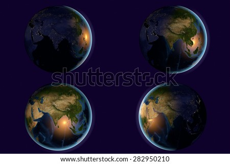 Planet Earth; the Earth from space showing India, Asia, India on globe in different time of day and night; elements of this image furnished by NASA - stock photo