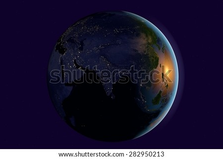Planet Earth; the Earth from space showing India, Asia, India on globe in night; elements of this image furnished by NASA