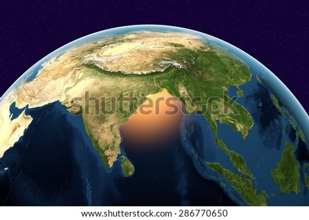 Planet Earth; the Earth from space showing India, Sri Lanka, Indonesia on globe in the day time; elements of this image furnished by NASA - stock photo