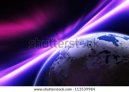 Planet Earth. The impact of radiation exposure. Elements of this image furnished by NASA. - stock photo