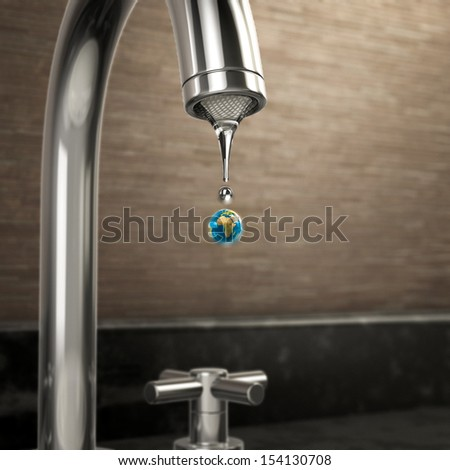 planet earth water drop coming out of the tap. Ecology and sustainability - stock photo