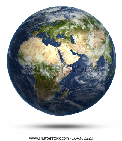 Planet Earth white isolated. Earth globe model, maps courtesy of NASA - stock photo