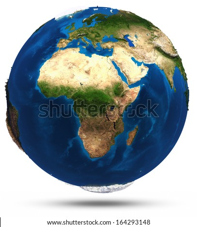 Planet Earth white isolated. Elements of this image furnished by NASA