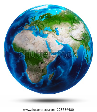 Planet Earth white isolated. Elements of this image furnished by NASA - stock photo