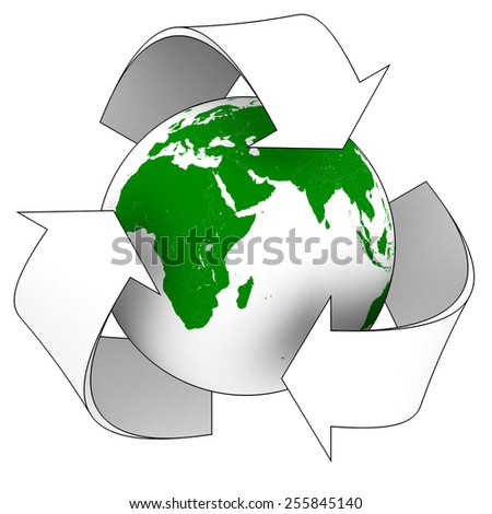 Planet Earth White Recycling Symbol - Elements of this image furnished by NASA - stock photo
