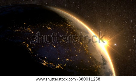 Planet Earth with a spectacular sunrise, view on USA and Canada. Elements of this image furnished by NASA - stock photo