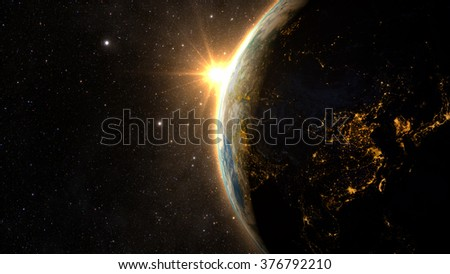 Planet Earth with a spectacular sunset, view on China and India. Elements of this image furnished by NASA - stock photo