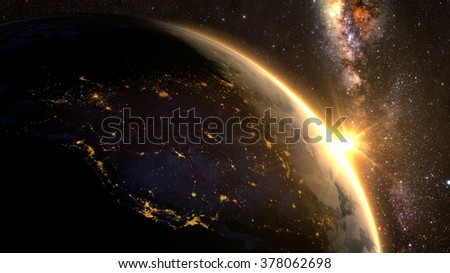 Planet Earth with a spectacular sunset, view on USA and Canada. Elements of this image furnished by NASA - stock photo