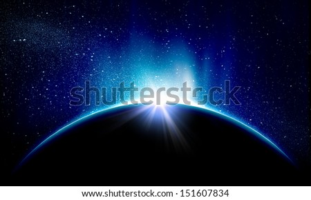 Planet Earth with appearing sunbeam light. Sunrise or sunset