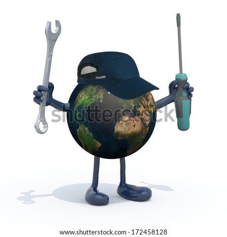 planet earth with arms, legs and tools on hands, 3d illustration. Elements of this image furnished by NASA.  - stock photo
