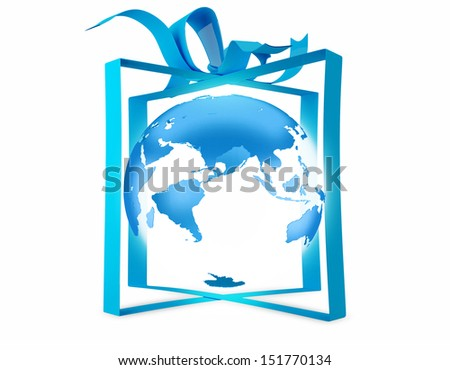 Planet Earth with Blue ribbon.  - stock photo