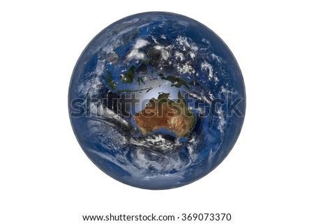 Planet Earth with Clouds and Atmosphere. Australia View. Digitally generated model of Planet Earth. Render based on  reference images of NASA. Elements of this image furnished by NASA - stock photo