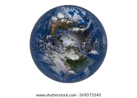 Planet Earth with Clouds and Atmosphere. The Americas. Digitally generated model of Planet Earth. Render based on  reference images of NASA. Elements of this image furnished by NASA
