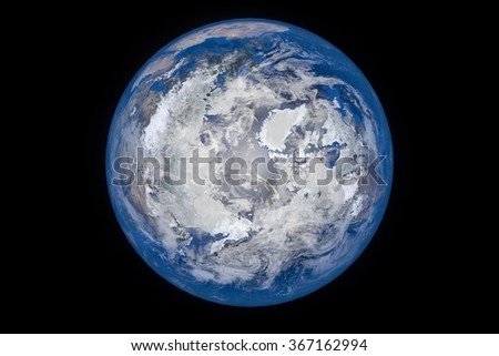 Planet Earth with Clouds and Atmosphere. Top  View. Digitally generated model of Planet Earth. Render based on  reference images of NASA. Elements of this image furnished by NASA - stock photo