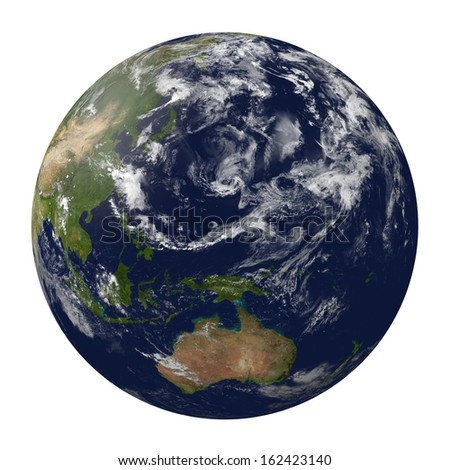 Planet earth with clouds. Australia and part of Asia. 3D render.  Elements of this image furnished by NASA. - stock photo
