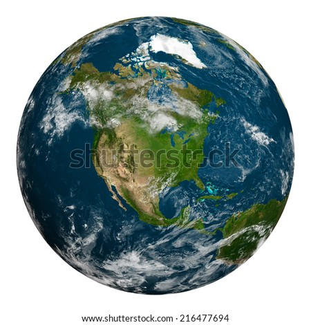 Planet earth with clouds. North America. Elements of this image furnished by NASA. - stock photo