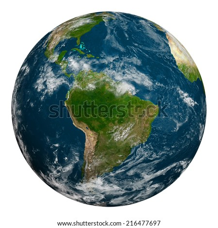 Planet earth with clouds. South America. Elements of this image furnished by NASA.
