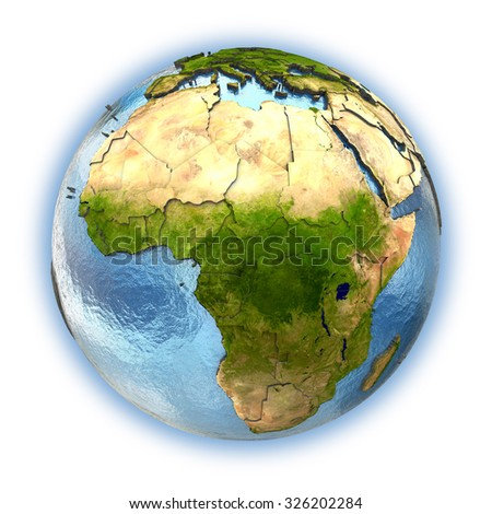 Planet Earth with embossed continents and country borders. Africa. Isolated on white background. Elements of this image furnished by NASA.
