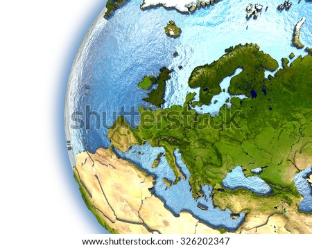 Planet Earth with embossed continents and country borders. Europe. Elements of this image furnished by NASA.