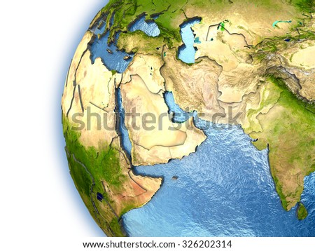 Planet Earth with embossed continents and country borders. Middle East. Elements of this image furnished by NASA.