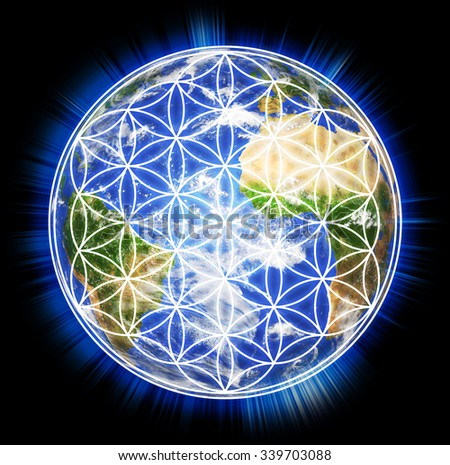 planet earth with flower of life sign
