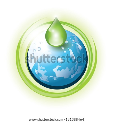 Planet Earth with green drop as an eco concept - stock photo
