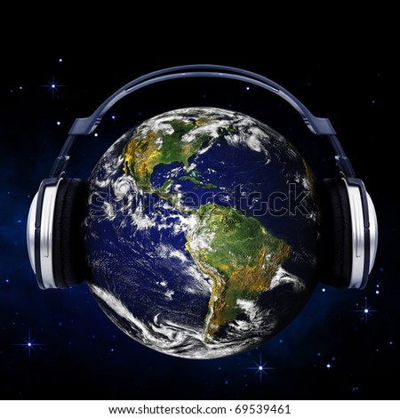 Planet Earth with headphones. Picture of Earth from Nasa.gov (free license)