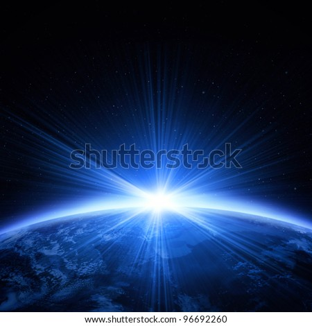 Planet earth with light of sunrise - stock photo