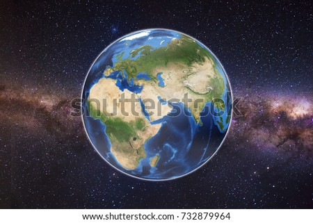 Planet Earth with milky way as background. Elements of this image furnished by NASA