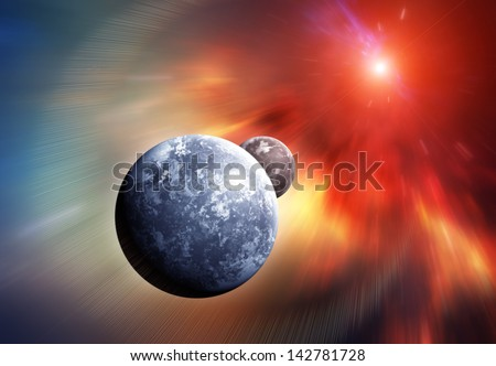 Planet Earth with Moon and Colorful Nebula on background - stock photo