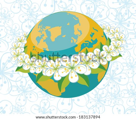 Planet earth with orbit of spring flowers.A wreath of flowers of cherry or Apple. Spring background of flowers ornament.V Illustration - stock photo