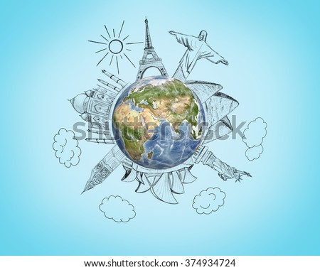 Planet earth with pencil sketches 7 Wonders of the World on blue background. Travel and world concept. Elements of image are furnished by NASA. - stock photo