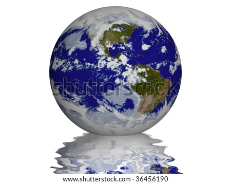 Planet Earth with small wavy reflection under it