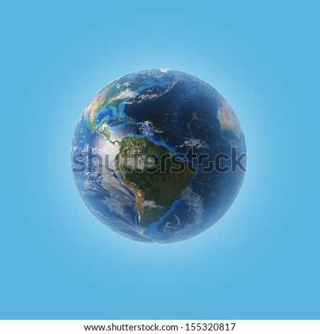 Planet earth with some clouds over a blue background. Elements of this image furnished by NASA