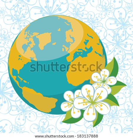 Planet earth with spring flowers.Spring background of flowers of cherry or Apple on flowers ornament background.Illustration - stock photo