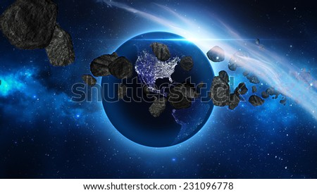 Planet Earth with sun and asteroid in universe or space, Globe and galaxy in a nebula cloud with meteors (Elements of this 3d rendered image furnished by NASA) - stock photo