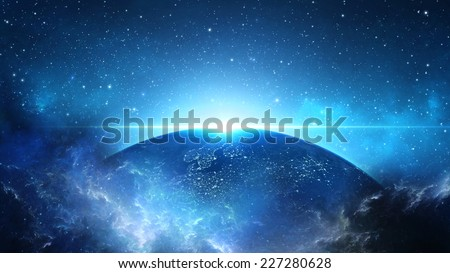 Planet Earth with sun in universe or space, Earth and galaxy in a nebula cloud (Elements of this 3d rendered image furnished by NASA) - stock photo