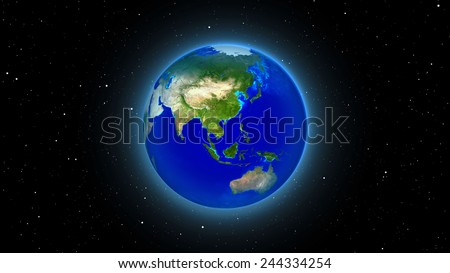 Planet Earth with sun in universe or space, Earth (Elements of this 3d rendered image furnished by NASA) - stock photo