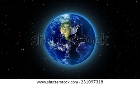 Planet Earth with sun in universe or space, Globe and galaxy in a nebula cloud (Elements of this 3d rendered image furnished by NASA) - stock photo