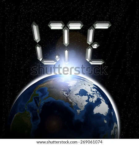 Planet earth with sun rising and LTE (Elements of this image furnished by NASA- earthmap) - stock photo