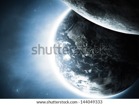 Planet earth with sunrise and moon in space. Elements of this image furnished by NASA