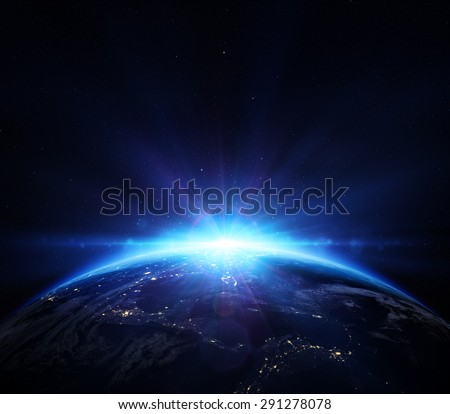 planet earth with sunrise in the space - Usa -  elements of this image furnished by NASA   - stock photo