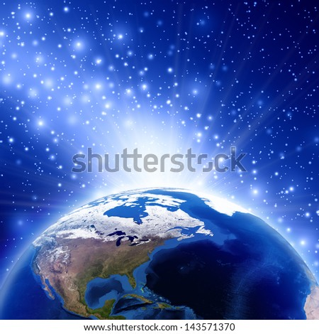 Planet earth with sunrise North America, Earth globe image provided by NASA - stock photo