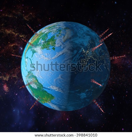 Planet earth with towers antennas, 3d render.Of This Image Furnished By Nasa